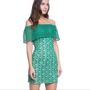 New Green lace off the shoulder cocktail dress